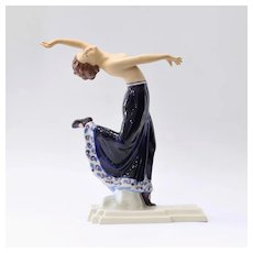 Vintage Royal Dux Dancing Semi-Nude Porcelain Figurine