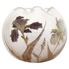 Antique Sgn. Mont Joye Enameled Orchid Bowl