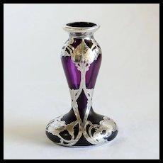 Circa 1890 Art Nouveau Loetz Jugendstil Silver Overlay Vase