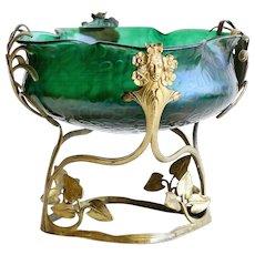 Circa 1890 Antique Jugendstil Art Nouveau Loetz Bowl In Metal Armature
