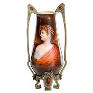 Circa 1890 Antique Royal Bonn Artist Signed Jeweled Portrait Vase
