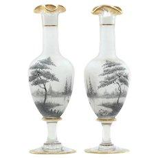 Pair C. 1900 Art Nouveau Mont Joye Vases