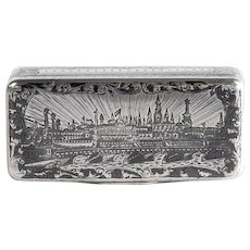 Antique 19th Century Russian Scenic Sterling Snuff Box