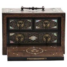 Antique Circa 1880 Diminutive M.O.P. Inlaid Jewelry Box