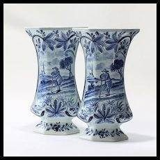 Pair Antique Signed Scenic Delft Vases