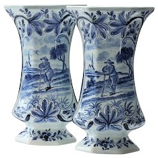 Pair Antique Signed Scenic Delft Vases