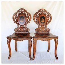Rare Pair Antique Bavarian Victorian Carved Inlaid Shepherd Scene Chairs
