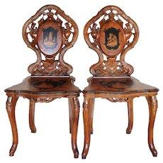 Rare Pair Antique Bavarian Victorian Carved Inlaid Shepherd Scene Chairs