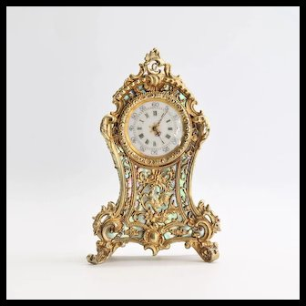 Antique 800 Silver French Gold Vermeil Miniature Clock