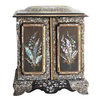 Very Rare Circa 1880 Victorian M.O.P. Inlaid Sewing Cabinet