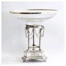 Circa 1890 Art Nouveau Ornate Cutglass Centerpiece