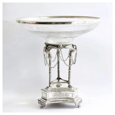 Circa 1890 Art Nouveau Ornate Cutglass Centerpiece