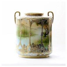 Monumental Circa 1900 Signed Nippon Sceninc Vase