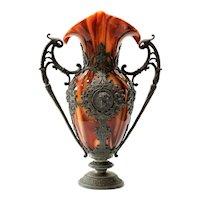 Circa 1889 Loetz Marmoriertes Carneol Vase In Metal Armature