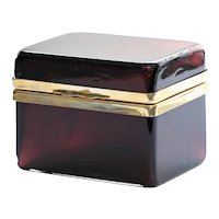 Vintage Signed Murano Italy Amethyst Glass Jewel Casket