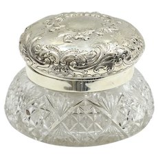 Dated 1893 Cut Glass Sterling Silver Dresser Box