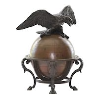 Antique Circa 1880 Bronze Eagle & Globe Inkwell