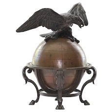 Antique Circa 1880 Bronze Eagle & Globe Inkwell