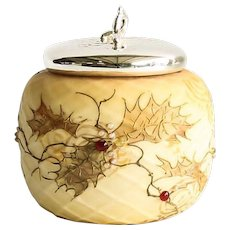 Circa 1889 Mount Washington Crown Milano Covered Jar