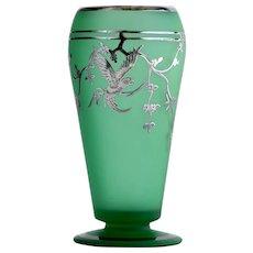 Vintage Art Deco Rockwell Silver Overlay Parrot Motif Vase