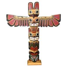 Vintage  Artist  Signed  Northwest  Indian  Totem  Pole