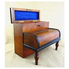 Rare Victorian Circa 1880 Antique Piano Inkwell & Letter Box