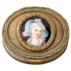 Circa 1890 French Ring Box With Porcelain Portrait