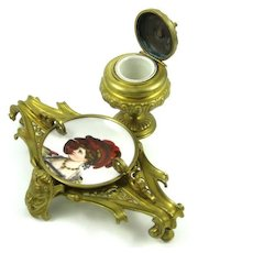 Victorian Bronze Rococo Inkwell With Hand Painted Porcelain Insert