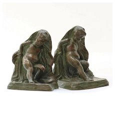 Circa 1890 Art Nouveau Antique Solid Bronze Cherub Bookends