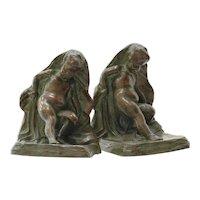 Circa 1890 Art Nouveau Antique Solid Bronze Cherub Bookends