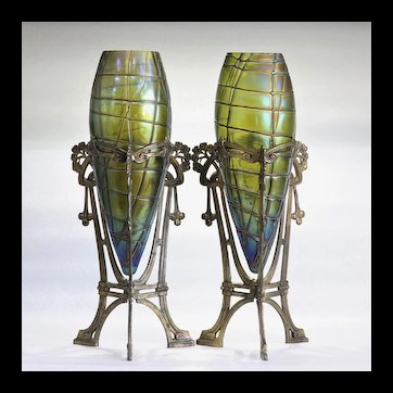 Rare Monumental Pair Of Kralik Art Nouveau Vases In Metal Armatures