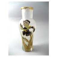 Vintage Signed Mont Joye 6 ¼ Inch Vase With Enameled Irises