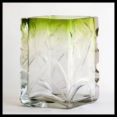 Antique Moser Clear To Green Intaglio Cut Vase With Floral Motif