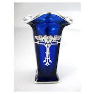 Circa 1920 Signed Rockwell Cobalt Blue Sterling Silver Overlay Egyptian Revival Vase
