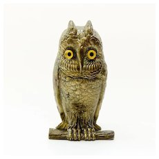 Circa  1870  Victorian  Figural  Owl  Inkwell