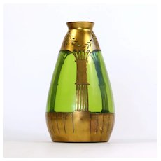 Rare Jugendstil Art Nouveau Vase With Copper Overlay
