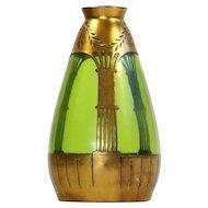 Rare Jugendstil Art Nouveau Vase With Copper Overlay