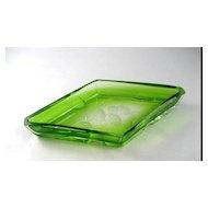 Circa 1920 Signed Moser Emerald Green Floral Intaglio Cut Tray