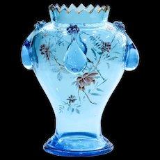 Circa  1890  Antique  Moser  Ice  Blue  Enameled  Vase
