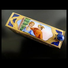 Vintage Art Deco Enameled Silver Dore Lipstick Holder