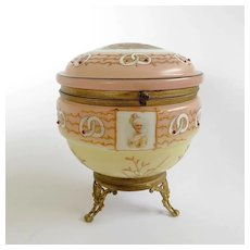 Magnificent Victorian French Porceleain Jeweled Dresser Box