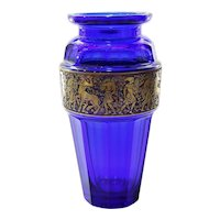 Circa 1910 Moser Cobalt Vase With Mythological Warrior Frieze