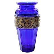 Circa 1910 Moser Cobalt Vase With Mythological Warrior Frieze