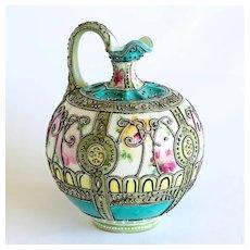 Circa 1880's Museum Quality Signed Royal Morine Coralene Nippon Vase