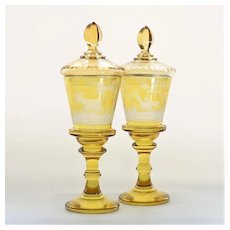 Pair Circa 1920's Moser Scenic Engraved Covered Vaseline Compotes