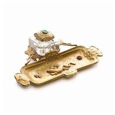 Circa 1890 Art Nouveu Jeweled Inkwell