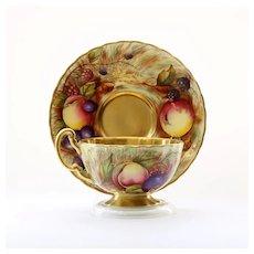 Vintage Artist Signed N. Brunt Aynsley Tea Cup & Saucer