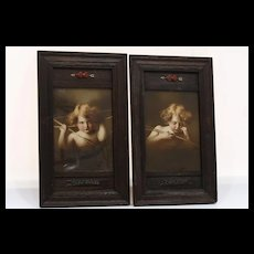 Rare Pair Circa 1890 Cupid Awake & Cupid Asleep Prints