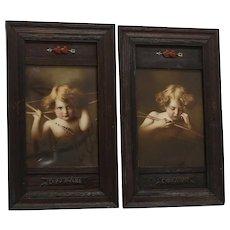 Rare Pair Circa 1890 Cupid Awake & Cupid Asleep Prints