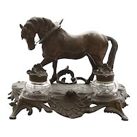 Antique Circa 1880 Victorian Figural Horse Double Ink Well